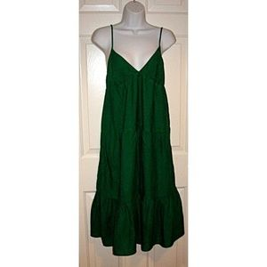 Kelly Green Tiered Peasant Sun Dress Vintage 90s S
